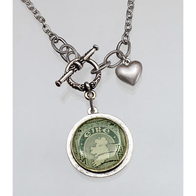 Irish Necklace - Irish Postage Stamp Round Silver Pendant with Heart Charm
