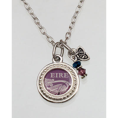 Irish Necklace - Irish Postage Stamp Wee Charm Pendant with Chain