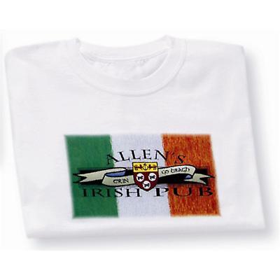Irish T-Shirt - Personalized Irish Pub Coat of Arms Flag (White)