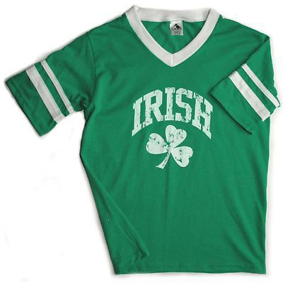 Irish T-Shirt - Distressed Irish Shamrock Stripe Jersey T-Shirt