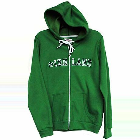 Irish Sweatshirt - Ladies Kelly Green Ireland Embroidered Zip Hooded Sweatshirt