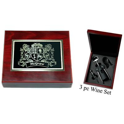 Personalized Irish Coat of Arms 3 Piece Wine Tools Box Set - Rosewood Finish