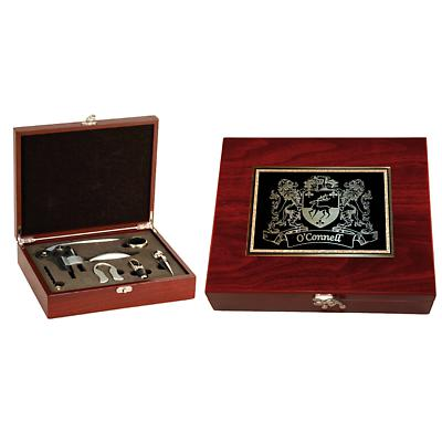 Personalized Irish Coat of Arms 5-Piece Wine Tools Box Set - Rosewood Finish