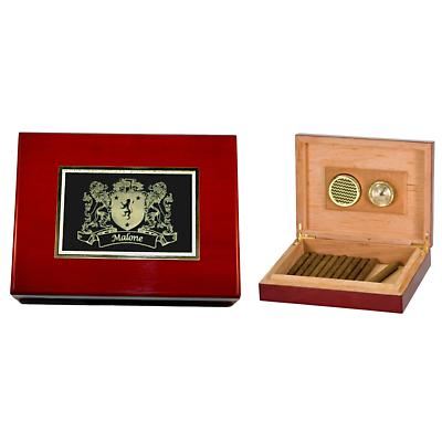 Personalized Irish Coat of Arms Humidor - Rosewood Piano Finish