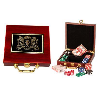 Personalized Irish Coat of Arms 100 Piece Poker Set - Rosewood Finish
