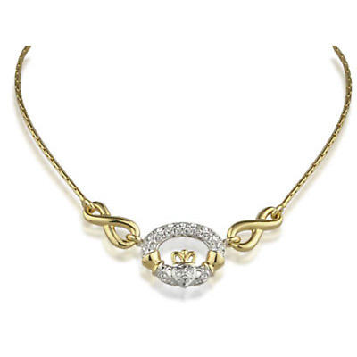 Irish Necklace - Gold Plated Cubic Zirconia Claddagh Necklace
