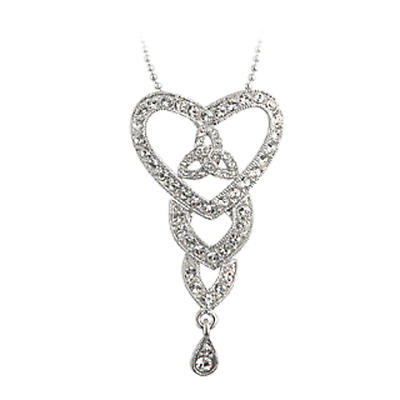 Irish Necklace - Trinity Love Knot 3 Heart Crystal Irish Pendant