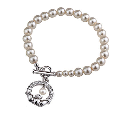 Claddagh Pearl Bracelet - Rhodium Plated