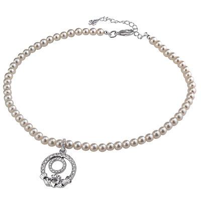 Claddagh Necklace - Irish Claddagh Pearl Necklet