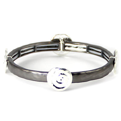 Irish Bracelet - Silver Two Tone Spiral Stretch Bracelet
