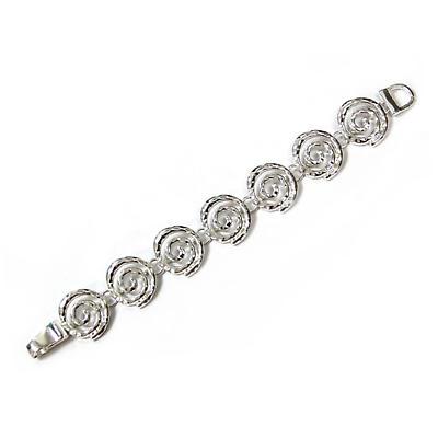 Irish Bracelet - Silver Tone Hammer Texture Spiral Magnetic Bracelet
