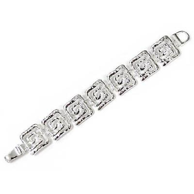 Irish Bracelet - Silver Tone Hammer Texture Square Spiral Magnetic Bracelet