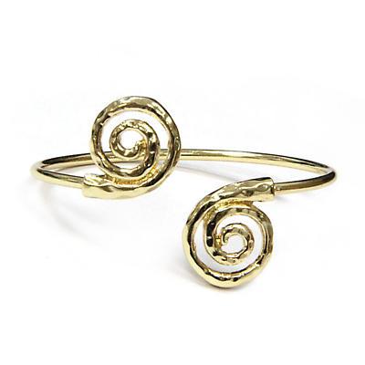 Irish Bracelet - Gold Tone Spiral Cuff Bracelet