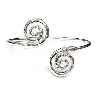 Irish Bracelet - Silver Tone Spiral Cuff Bracelet