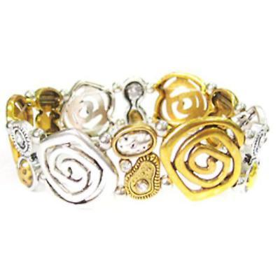 Irish Bracelet - Two Tone Silver and Gold Stone Set Spiral Bracelet
