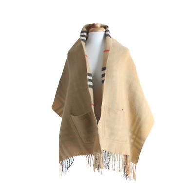 Irish Shawl - Reversible Pocket Shawl - Beige