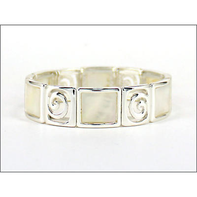 Irish Bracelet - Mother of Pearl Spiral Stretch Bracelet