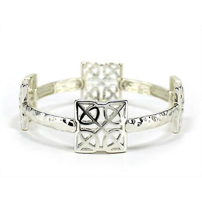 Celtic Bracelet - Silver Square Stretch Celtic Knot Bracelet