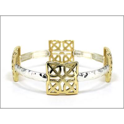 Celtic Bracelet - Two Tone Square Stretch Celtic Knot Bracelet