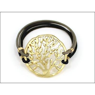 Irish Bracelet - Gold Tree of Life Adjustable Bracelet - Black Strap