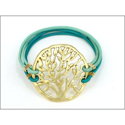 Irish Bracelet - Gold Tree of Life Adjustable Bracelet - Mint Strap
