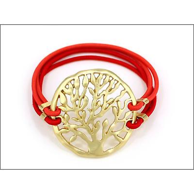 Irish Bracelet - Gold Tree of Life Adjustable Bracelet - Red Strap