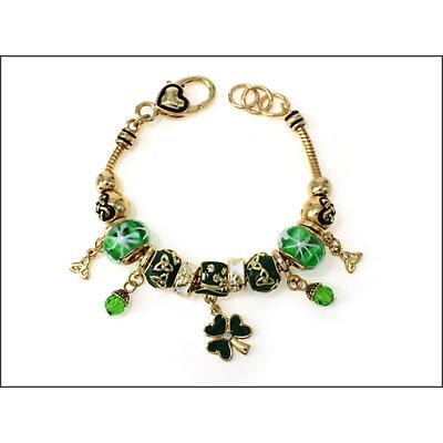 Irish Bracelet - Gold Tone Shamrock Trinity Bead Bracelet