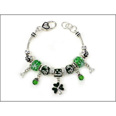 Irish Bracelet - Silver Tone Shamrock Trinity Bead Bracelet