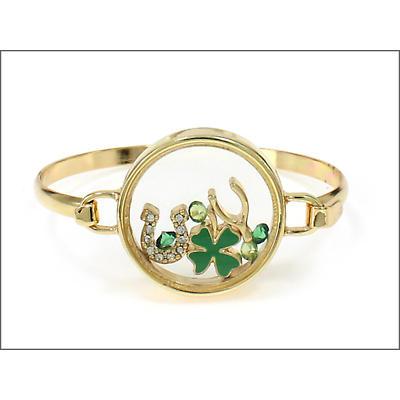 Irish Bracelet - Goldtone Lucky Charm Chamber Bracelet