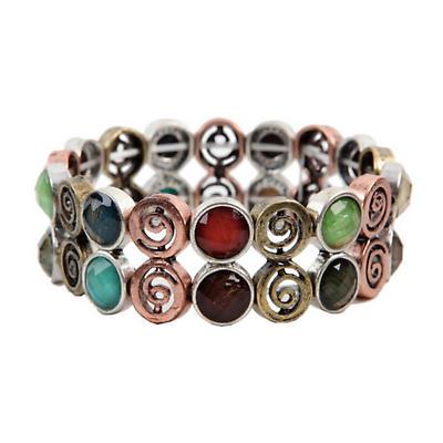 Irish Bracelet - Multi Color Stone Set Spiral Bracelet