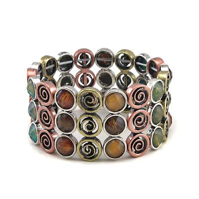 Irish Bracelet - Wide Multi Color Stone Set Spiral Bracelet
