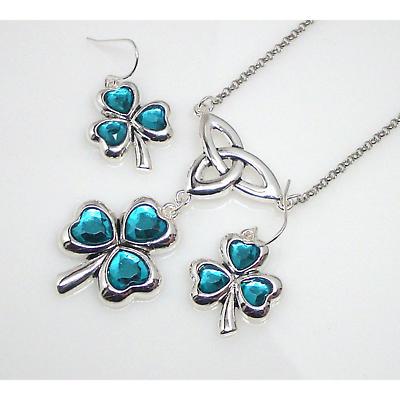 Irish Jewelry Set - Green Crystal Shamrock and Trinity Necklace and Earring Set