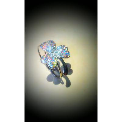 Shamrock Bracelet - Crystal Stone Set Shamrock Cuff Bracelet