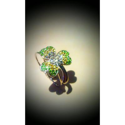 Shamrock Bracelet - Green and Clear Crystal Stone Set Shamrock Cuff Bracelet