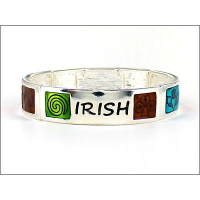 Irish Bracelet - Irish Symbols and Words Enamel Stretch Bracelet