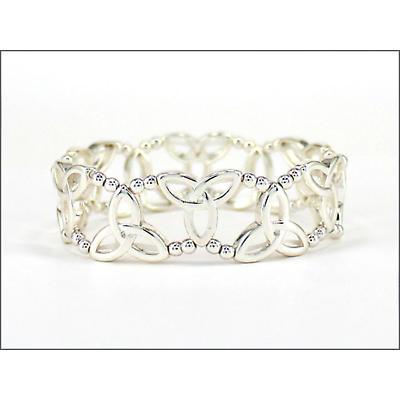 Trinity Knot Jewelry - Silvertone Trinity Knot Stretch Bracelet