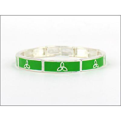 Trinity Knot Jewelry - Green Enamel Trinity Knot Stretch Bracelet