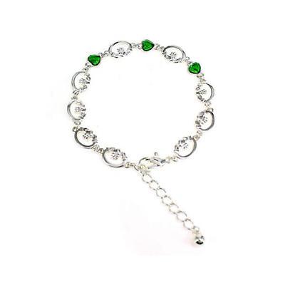 Irish Bracelet - Green Crystal Set Claddagh Ankle Bracelet