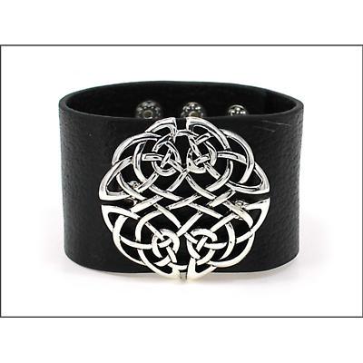 Irish Bracelet - Celtic Knot Wide Snap Leather Bracelet
