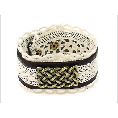 Irish Bracelet - Leather and Lace Celtic Knot Bracelet