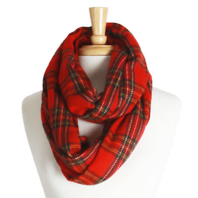Irish Scarf - Red Plaid Infinity Scarf