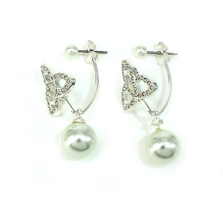 Irish Earrings - Pearl Floating Trinity Knot Earrings