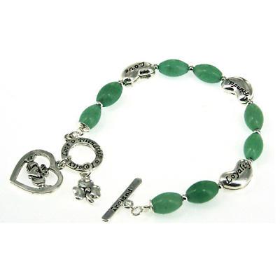 Claddagh and Shamrock Aventurine Toggle Bracelet