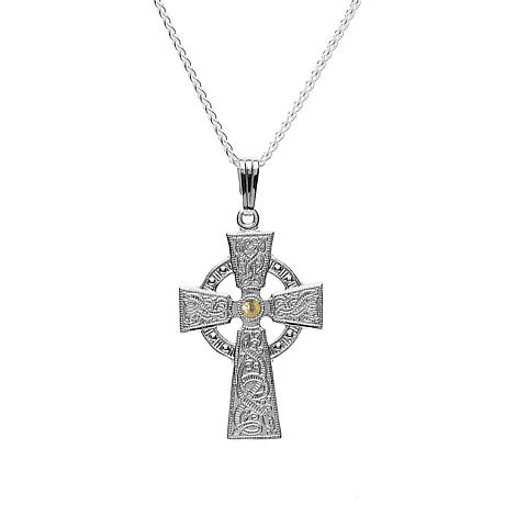 Celtic Cross - Celtic Warrior Cross Sterling Silver with 18k Gold Bead