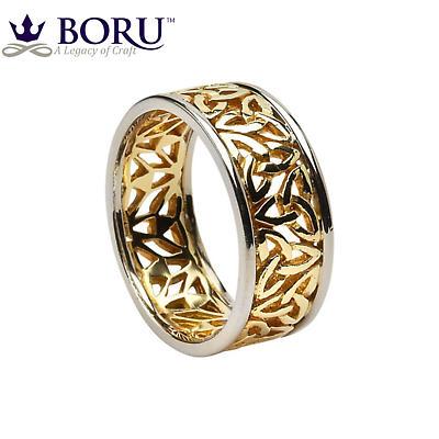 Trinity Knot Ring - Men's Yellow Gold with White Gold Trim Trinity Filigree Irish Wedding Ring