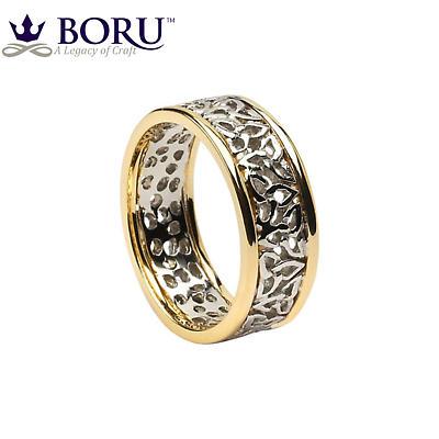 Trinity Knot Ring - Ladies White Gold with Yellow Gold Trim Trinity Knot Filigree Irish Wedding Ring