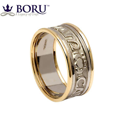 Mo Anam Cara Ring - Ladies White Gold with Yellow Gold Trim - Mo Anam Cara 'My Soul Mate' Irish Wedding Band