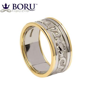Mo Anam Cara Ring - Men's White Gold with Yellow Gold Trim - Mo Anam Cara 'My Soul Mate' Irish Wedding Band
