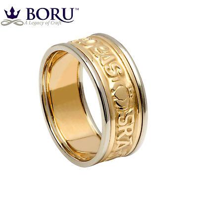 Irish Ring - Ladies Yellow Gold with White Gold Trim - Gra Dilseacht Cairdeas 'Love, Loyalty, Friendship'  Irish Wedding Ring
