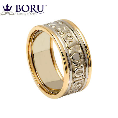 Irish Ring - Ladies White Gold with Yellow Gold Trim - Gra Dilseacht Cairdeas 'Love, Loyalty, Friendship'  Irish Wedding Ring